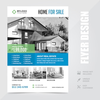 Недвижимость продажа дома a4 flyer брошюра дизайн шаблона