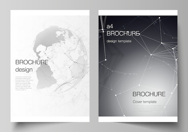 A4 format cover templates for brochure, futuristic with world globe