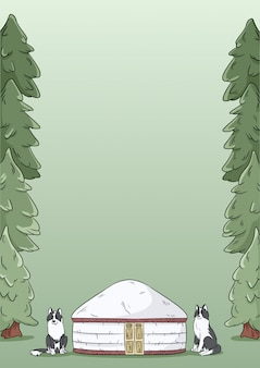 A4 letter template design with yurt, siberian laika dogs and green forest fir trees background