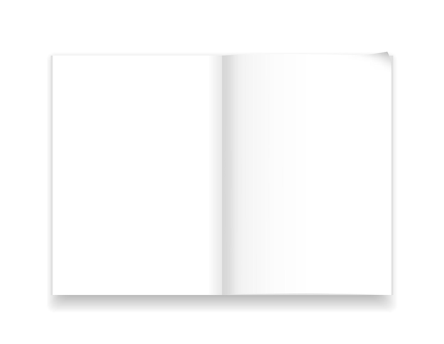 A4 notebook template isolated with realistic shadow vector illustration white page spread