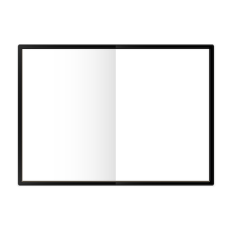 A4 notepad template isolated vector illustration white page spread with realistic light