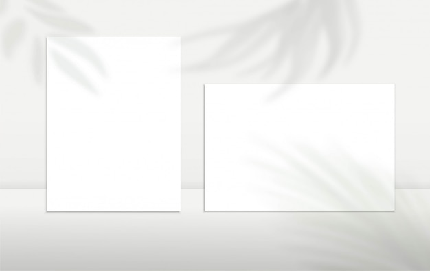 A4 paper sheets, blank cards or notes with shadow overlay silhouette effect. minimalism design