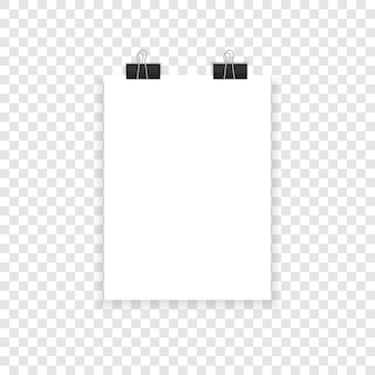A4 paper with shadows on a transparent background.