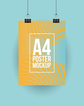 A4 poster mockup with clips design of corporate identity template and branding theme