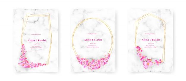 А4 набор свадебного приглашения, художественные цветы на мраморной современной карте векторная иллюстрация