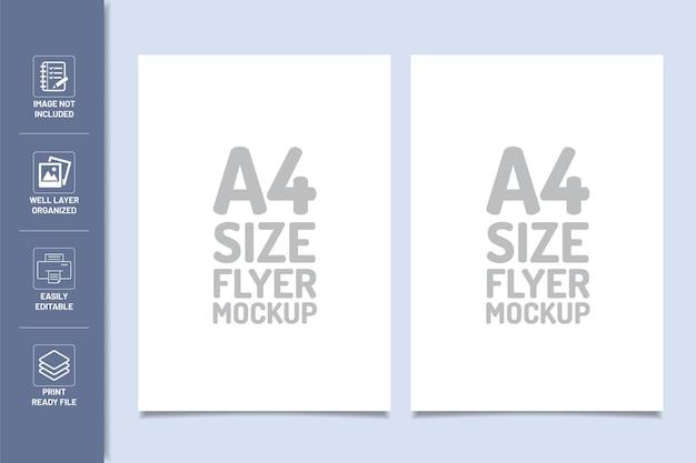 A4サイズのチラシデザインテンプレートモックアップ