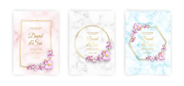 The a4 size marble, golden frame and flowers