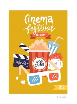 A4 size movie poster. cinema placard flat design template with film symbols - tape, stereo glasses, popcorn, clapperboards.