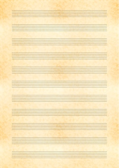 A4 size yellow sheet of old paper with music note stave