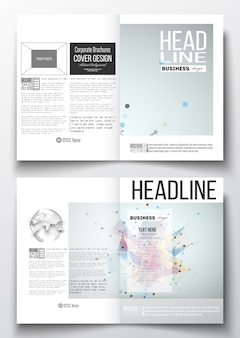 A4 templates for brochure with polygonal backgrounds