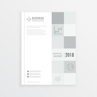 グレーの四角のa4サイズのビジネスの年次報告書雑誌の表紙のデザイン