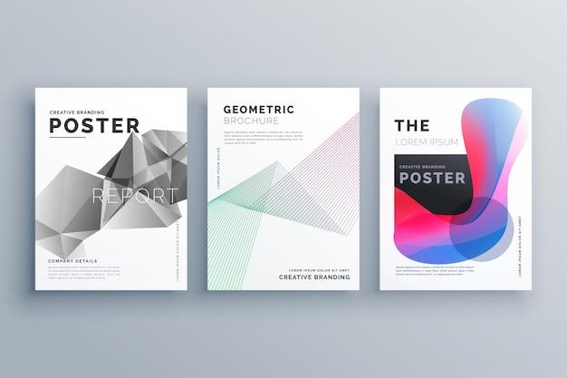 抽象的な最小パンフレットデザインのテンプレートサイズa4線の幾何学的形状と流体の色のスタイル