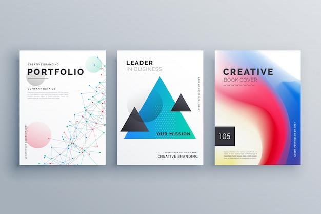 ワイヤーメッシュの三角形と流体の色のスタイルで作られたa4サイズで創造的なパンフレットのデザインのサンプルを設定