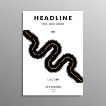 Бизнес брошюра, шаблон или дизайн макета флаера в формате a4 с дороги на фоне.