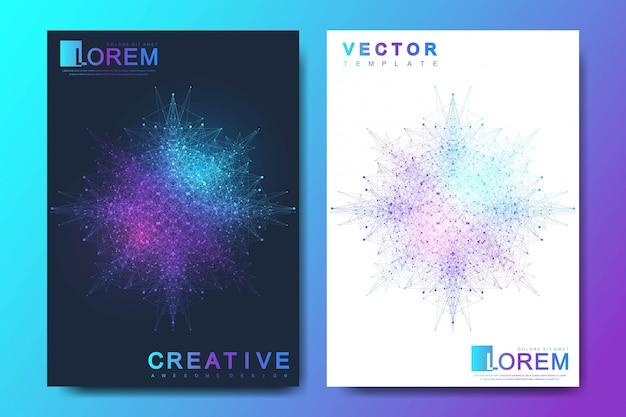 パンフレット、チラシ、チラシ、カバー、バナー、カタログ、雑誌、またはa4サイズの年次報告書のモダンなテンプレートです。未来の科学技術デザイン。幾何学的なグラフィック背景分子