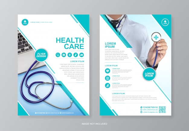 Корпоративное здравоохранение и медицинское покрытие a4 флаер шаблон оформления