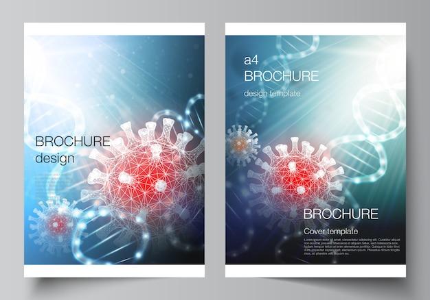 コロナウイルスのa4テンプレート背景のレイアウト。ウイルスの概念。