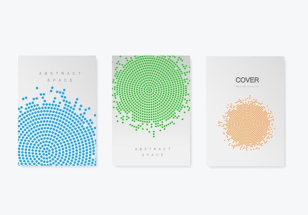 ハーフトーンデザインのパンフレットテンプレート。年次報告書、雑誌、a4サイズのチラシ