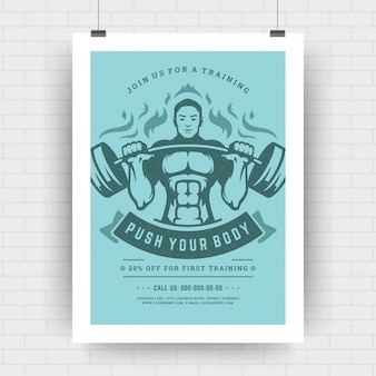 フィットネスセンターチラシモダンなタイポグラフィレイアウト、ボディービルダーの男とイベントポスターデザインテンプレートa4サイズ