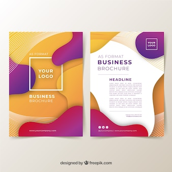 A5 business brochure template with wavy shapes