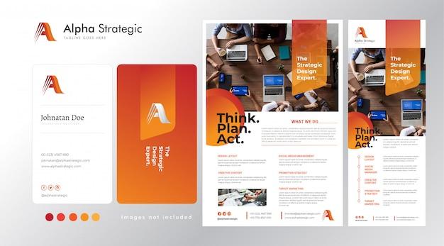 Установить корпоративный логотип на основе a, визитки, флаера и шаблона стоящего баннера