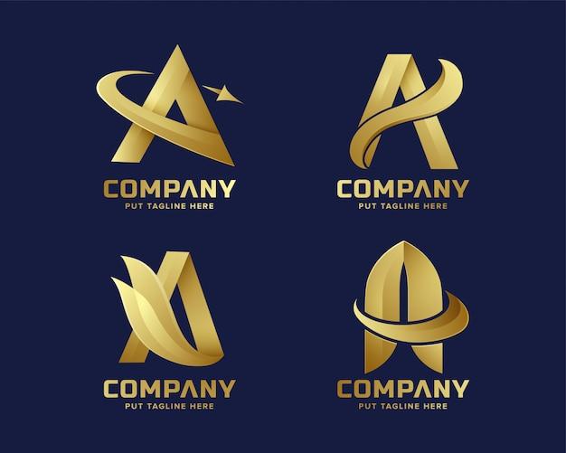 Премиум золотая буква a логотип компании