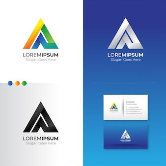 Треугольник буква a дизайн логотипа