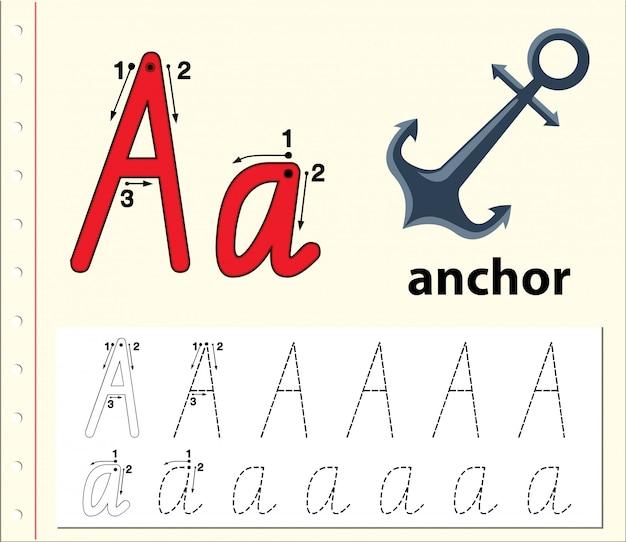 Письменные листы трассировки алфавита a