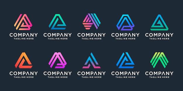 創造的な手紙aロゴのセット