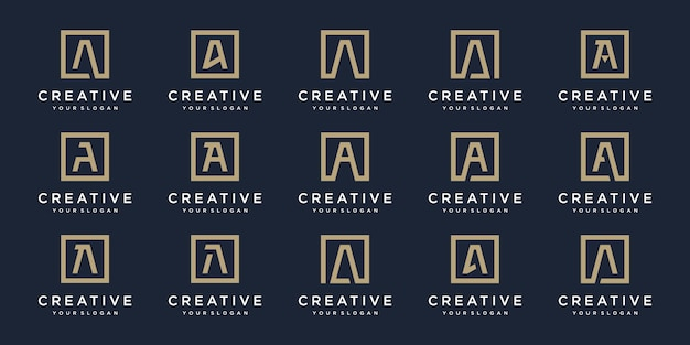 スクエアスタイルのロゴ文字aのセット。テンプレート