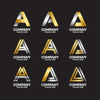 Премиум люкс буква a коллекция логотипов