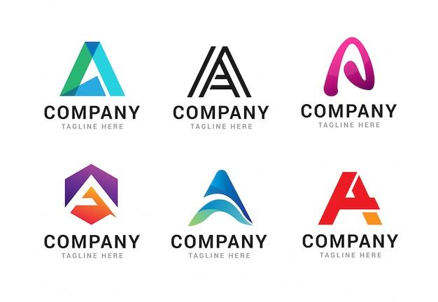 Набор элементов шаблона значков буква a логотип
