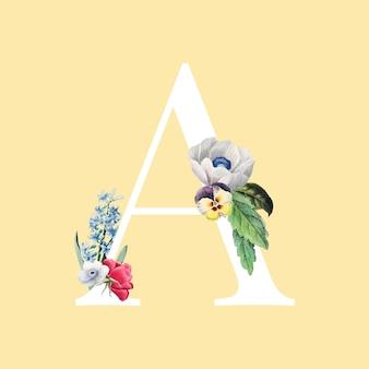 Цветочная заглавная буква a алфавит вектор