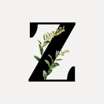 植物のフォント文字a