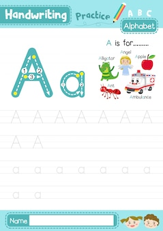 文字aの大文字と小文字のトレース練習ワークシート