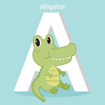Персонаж милого аллигатора со шрифтом a