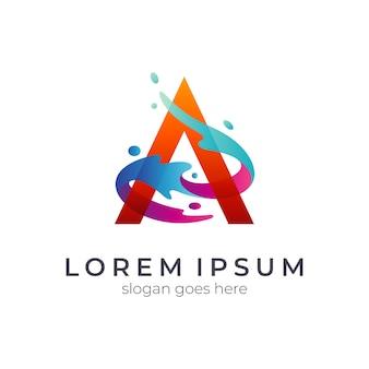 Буква a и логотип брызг воды
