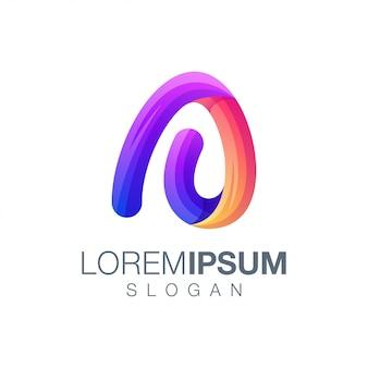 Шаблон логотипа буква a градиент цвета
