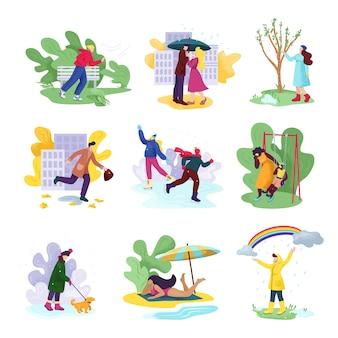 모든 사계절과 날씨. 바람이 부는 가을, 눈 덮인 겨울, 비오는 봄, 화창한 여름에 계절 옷을 입은 사람들. 여자 또는 남자 우산, 해변에서.