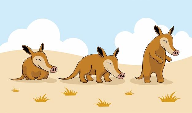 Aardvark cartoon character nature animals