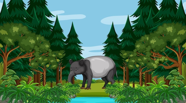 An aardvark in forest scene with many trees