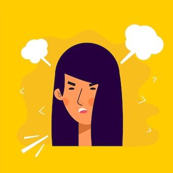 화난 표정으로 아시아 여성 아바타 캐릭터. 사악한 사람들이 평면 벡터 일러스트 레이 션. 여성 초상화입니다. 사랑스러운 여자 유행 아이콘