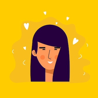 사랑스러운 표정의 아시아 여성 아바타 캐릭터. 명랑, 행복한 사람들이 평면 벡터 일러스트 레이 션. 여성 초상화입니다. 사랑스러운 여자 유행 아이콘