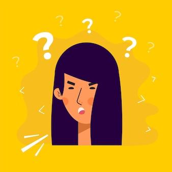 질문 식으로 아시아 여성 아바타 캐릭터. 사람들이 평면 벡터 일러스트 레이 션. 여성 초상화입니다. 사랑스러운 소녀 유행 아이콘입니다.