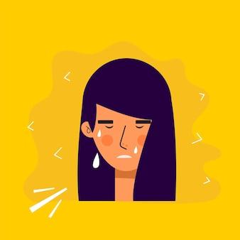 슬픈 표정으로 아시아 여성 아바타 캐릭터. 우는 사람들 평면 벡터 일러스트 레이 션. 여성 초상화입니다. 사랑스러운 소녀 유행 아이콘입니다.