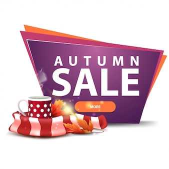 Aautumn sale, discount banner with a button, mug of hot tea and warm scarf