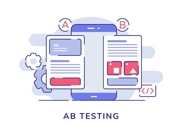 Концепция тестирования ab сравнение приложений ab с разделенным каркасом на экране смартфона с плоским контуром