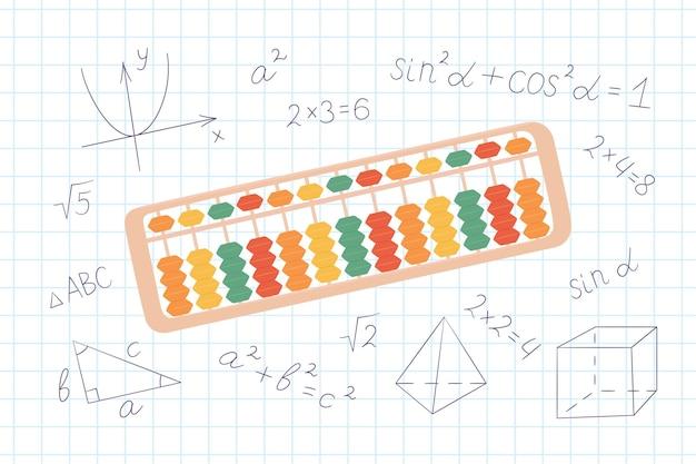 子供のための暗算を学ぶためのそろばんそろばん。日本の暗算システムの概念