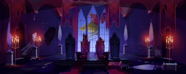 Заброшенный тронный зал замка с драконом за окном.