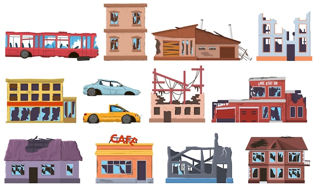 Abandoned damaged broken ruined buildings houses and cars. old burnt out, trouble decay houses facades, cars, city bus vector illustration set. natural disaster city ruins